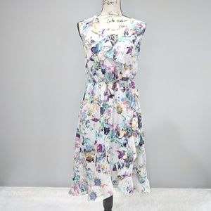 APT 9 White Ruffle Floral Summer Dress Size Medium
